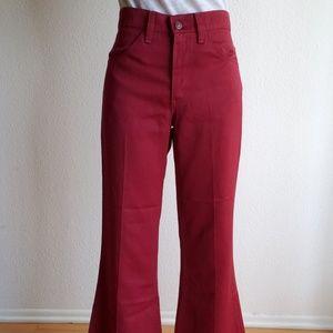 Vintage Levi Maroon Bell Bottom Pant Jeans Size 29